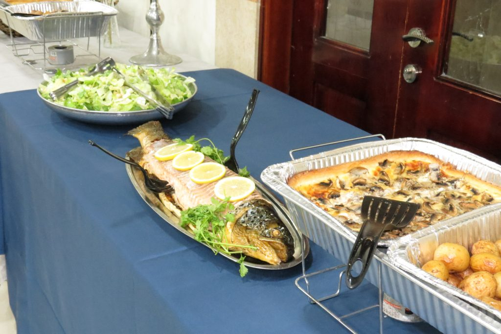 Delicious food prepared by Miriam Kaplan's Impressions Dairy Catering at the BTYA Melaveh Malkah